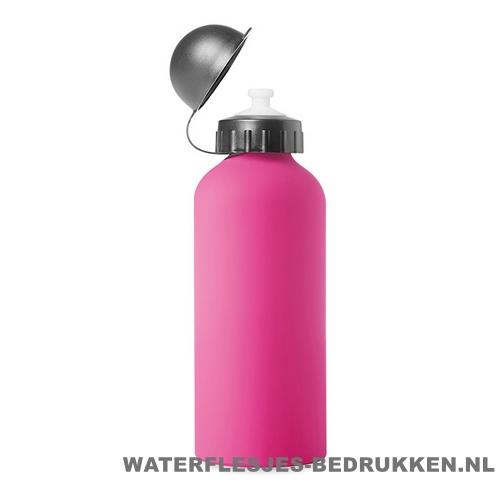 Bidon Alu Color bedrukken roze, bidon goedkoop bedrukken