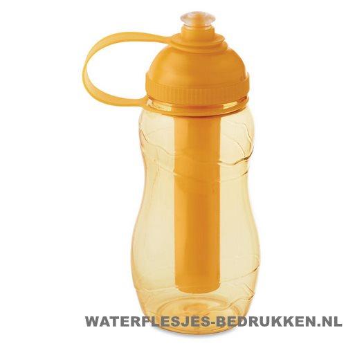 Drinkfles goedkoop bedrukken groen oranje, bidon goedkoop bedrukken