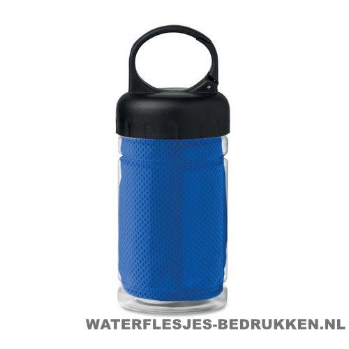 Drinkfles met handdoek bedrukken blauw