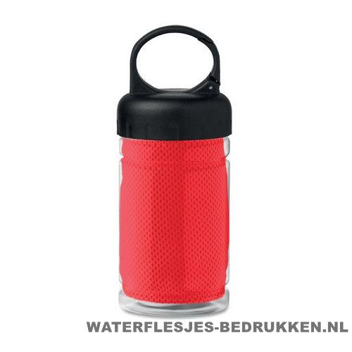 Drinkfles met handdoek bedrukken rood