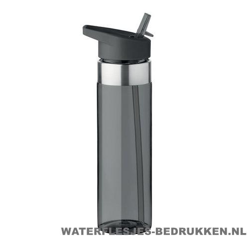 Drinkfles tritan 650ml bedrukken zwart, bidon goedkoop bedrukken