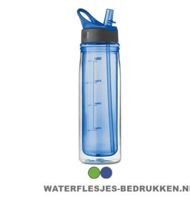 Dubbelwandige drinkfles bedrukken blauw
