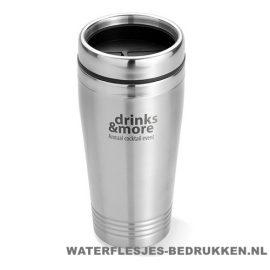 Koffiebeker metaal 400ml bedrukt budget, reisbeker goedkoop bedrukken
