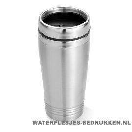 Koffiebeker metaal 400ml bedrukt goedkoop, reisbeker goedkoop bedrukken