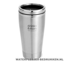 Koffiebeker metaal 400ml bedrukt met logo, reisbeker goedkoop bedrukken