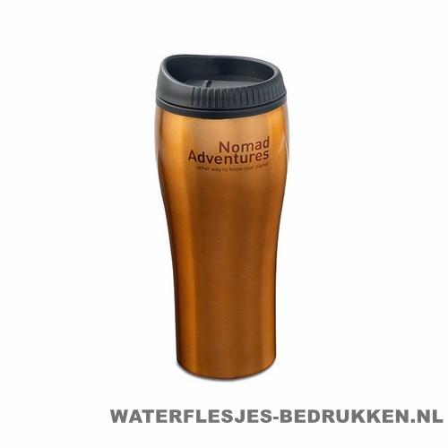 Koffiebeker rvs bedrukken oranje bedrukt, reisbeker goedkoop bedrukken