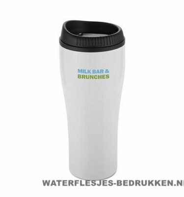 Koffiebeker rvs bedrukken wit met logo, reisbeker goedkoop bedrukken