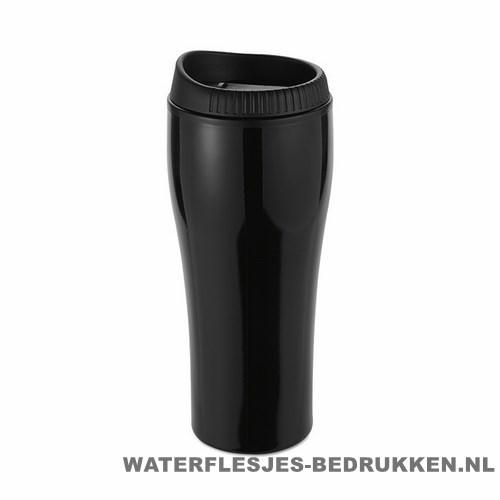 Koffiebeker rvs bedrukken zwart met logo, reisbeker goedkoop bedrukken