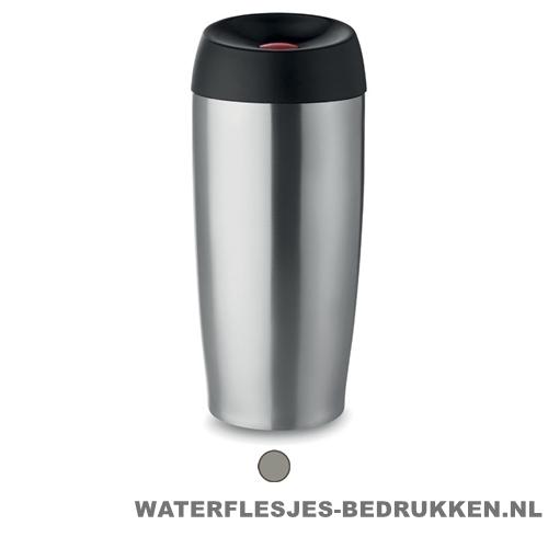 Luxe reisbeker 400ml bedrukken zilver goedkoop, koffiebeker bedrukken, goedkope drinkbeker thermos