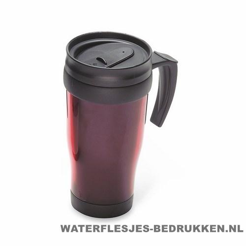 Reisbeker kunststof bedrukken rood, koffiebeker goedkoop bedrukken