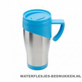 Reisbeker rvs bedrukken blauw, koffiebeker goedkoop bedrukken