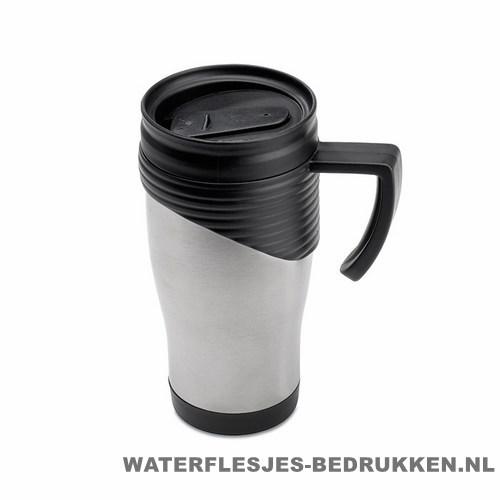 Reisbeker rvs bedrukken zwart, koffiebeker goedkoop bedrukken