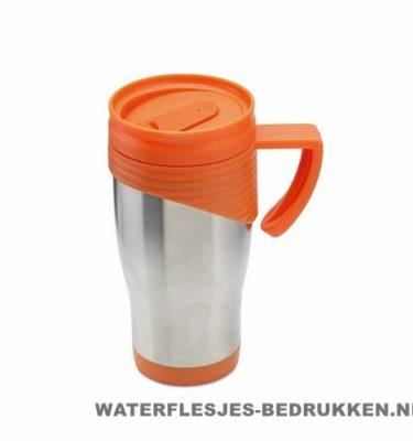 Reisbeker rvs bedrukt, koffiebeker goedkoop bedrukken