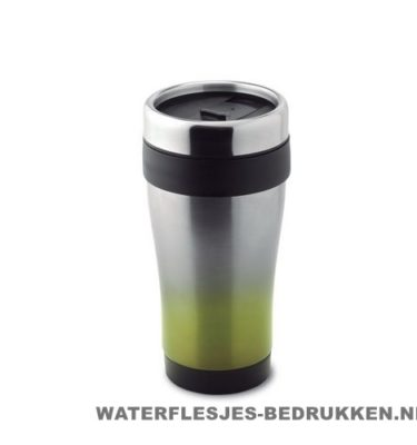 Thermosbeker RVS kunststof 455ml bedrukken lime