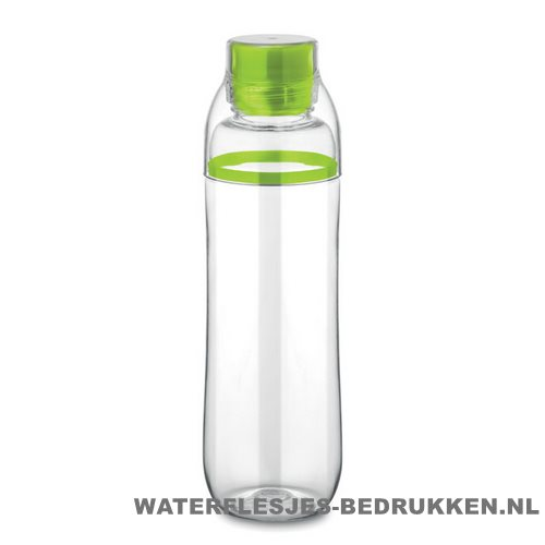 Transparante bidon bedrukken groen, bidon goedkoop bedrukken