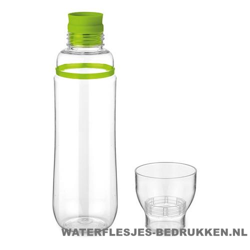 Transparante bidon bedrukken met logo groen, bidon goedkoop bedrukken
