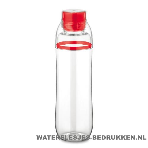 Transparante bidon bedrukt rood, bidon goedkoop bedrukken