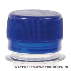 Waterfles bedrukken platte blauwe dop