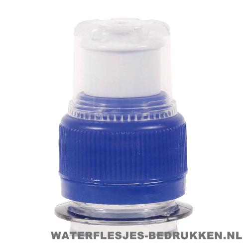 Waterfles bedrukken sportdop blauw