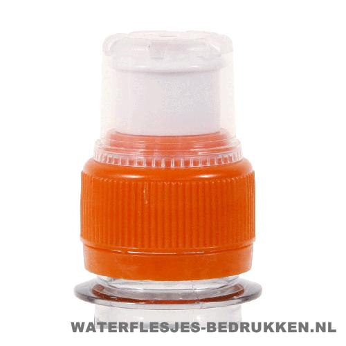 Waterfles bedrukken sportdop oranje