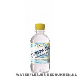 Waterflesje bedrukken 330 ml platte dop geel