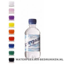 Waterflesje bedrukken 330 ml platte dop goedkoop bestellen