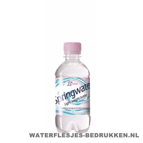 Waterflesje bedrukken 330 ml platte dop roze