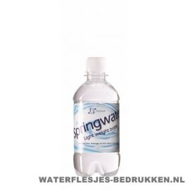 Waterflesje bedrukken 330 ml platte dop transparant wit