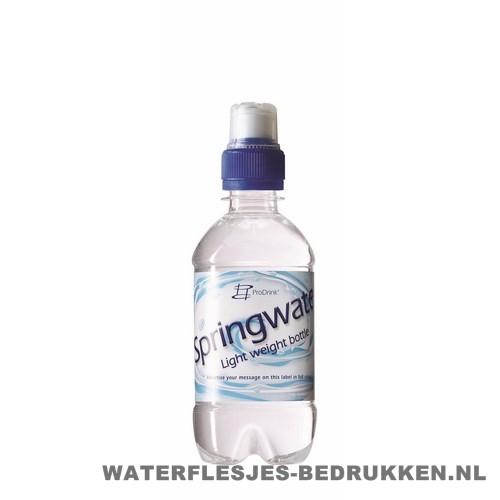 Waterflesje bedrukken 330 ml sportdop blauw