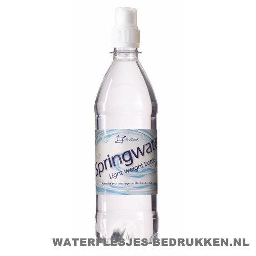 Waterflesje bedrukken 500 ml sportdop wit