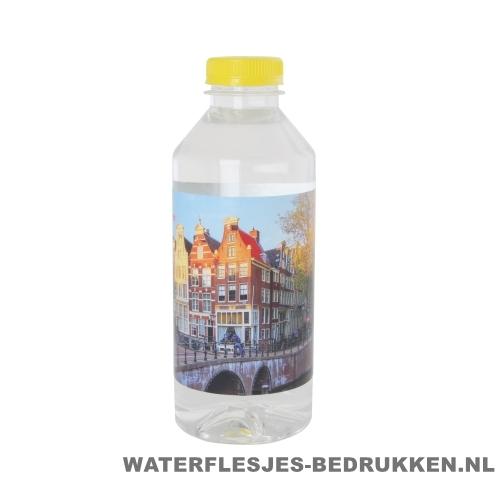 Waterflesjes bedrukken 330 ml platte dop geel