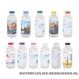 Waterflesjes bedrukken 330 ml platte dop goedkoop