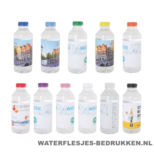 Waterflesjes bedrukken 330 ml platte dop goedkoop