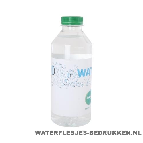 Waterflesjes bedrukken 330 ml platte dop groen