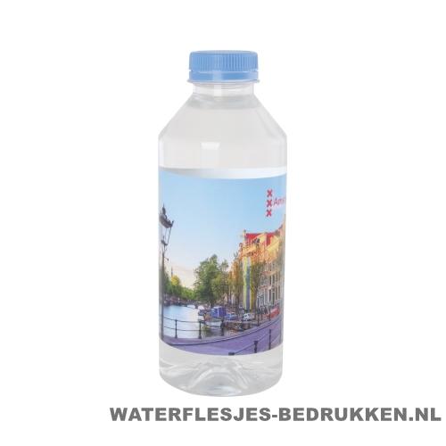 Waterflesjes bedrukken 330 ml platte dop lichtblauw