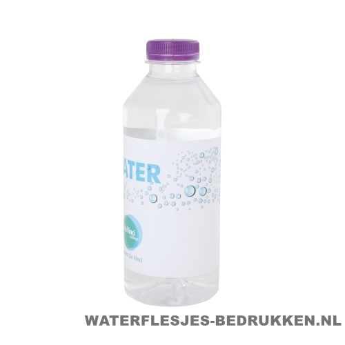 Waterflesjes bedrukken 330 ml platte dop paars