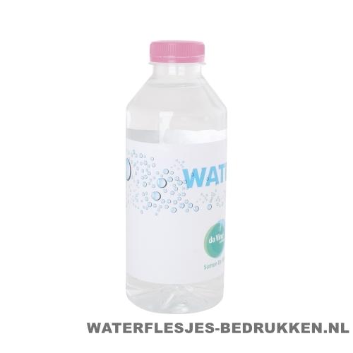 Waterflesjes bedrukken 330 ml platte dop roze