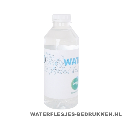 Waterflesjes bedrukken 330 ml platte dop wit