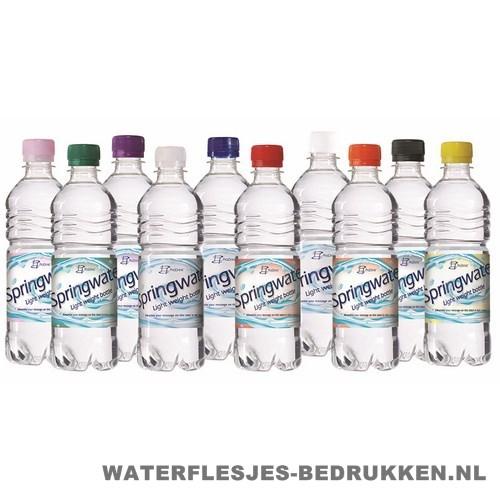 Waterflessen bedrukken geribbeld 500 ml platte dop alle kleuren