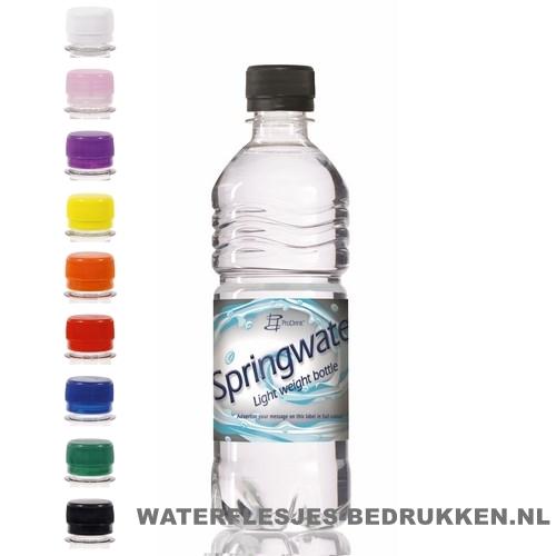 Waterflessen bedrukken geribbeld 500 ml platte dop goedkoop bestellen
