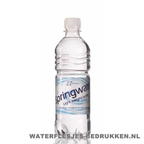 Waterflessen bedrukken geribbeld 500 ml platte dop transparant wit