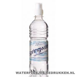Waterflessen bedrukken geribbeld 500 ml sportdop wit