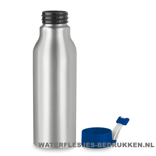 Aluminium drinkfles bedrukken blauw