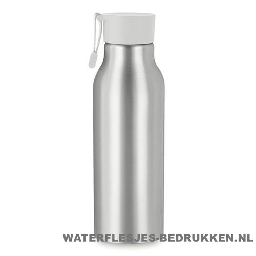 Aluminium drinkfles bedrukken dop wit