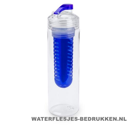 Bidon fruit filter 700ml bedrukt blauw