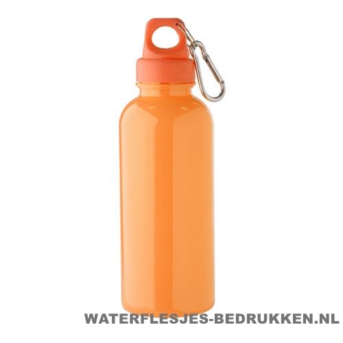 Bidon karabijnhaak groot 600ml met naam oranje wk koningsdag