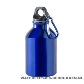 Bidon karabijnhaak klein 300ml bedrukt blauw