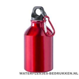 Bidon karabijnhaak klein 300ml bedrukt rood