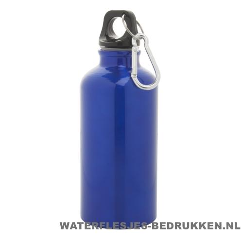Bidon karabijnhaak medium 400ml bedrukt blauw