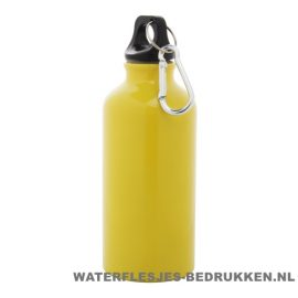 Bidon karabijnhaak medium 400ml bedrukt geel